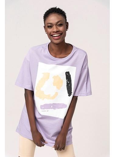 Coral Baskılı Düz T-Shirt Lila Lila